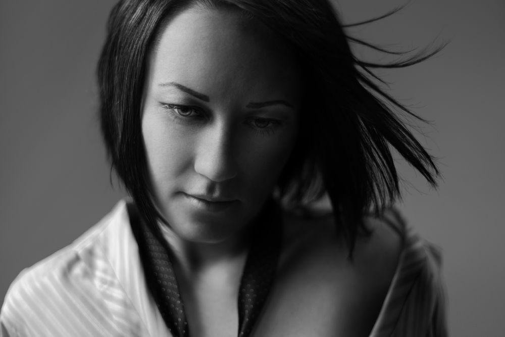 Photo in Black and White #bw #woman #portrait #black and white #she #light #photography #beauty #girl #look #face