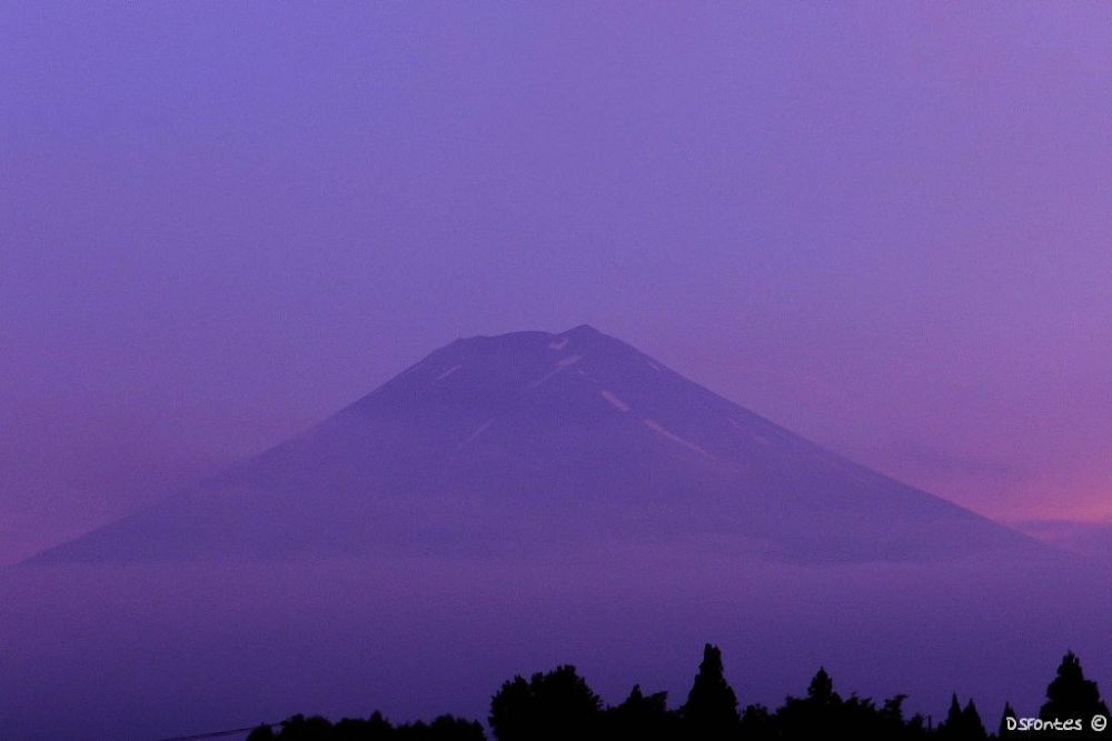 Mount Fuji seen from a train station at 8 PM by Doris Fontes