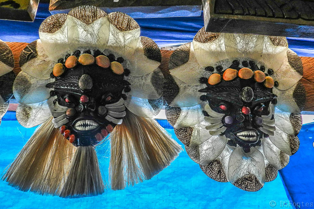 Masks made of pirarucu scales, other fish bones and teeth, local seeds and plants by Doris Fontes