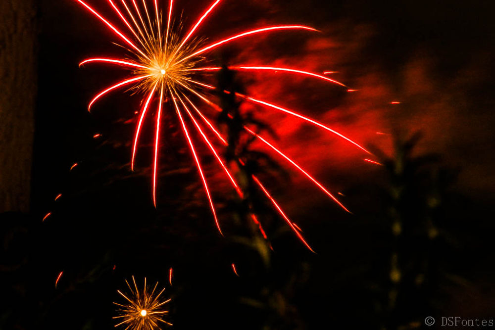 New Year's fireworks seen from my house by Doris Fontes