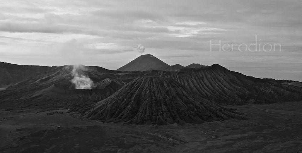 Mount Bromo, tengger and sumeru in black by Herodion Luas