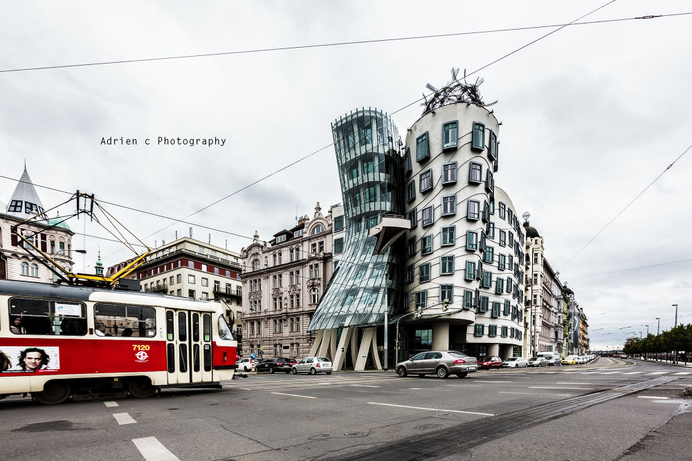 Photo in Architecture #dance #prague #praha #canon #buildings #strange #tram