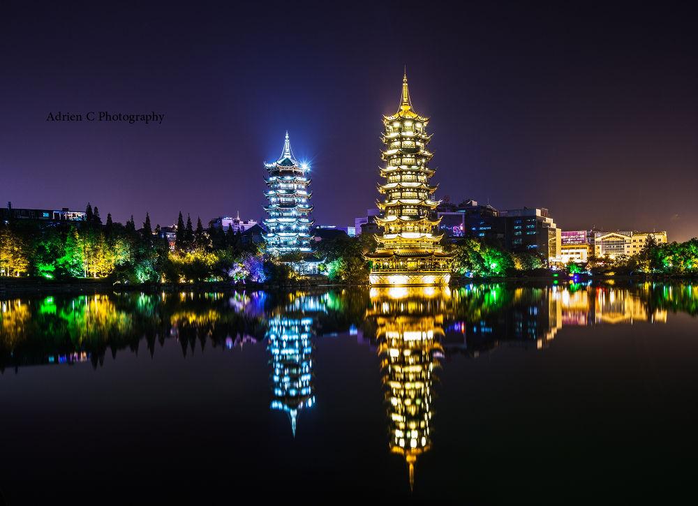 Photo in Travel #guilin #travel #pagoda #night #light #shot #canon