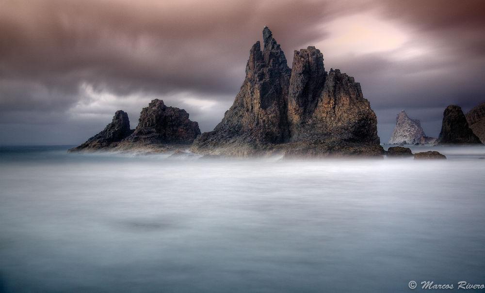 Photo in Landscape #rocks #volcanic #landscape #beach #night #low #exposure #silk #indeed #planet #rocas #colcánica #paisaje #playa #nocturna #baja exposición #seda #efecto #tenerife #spain #españa