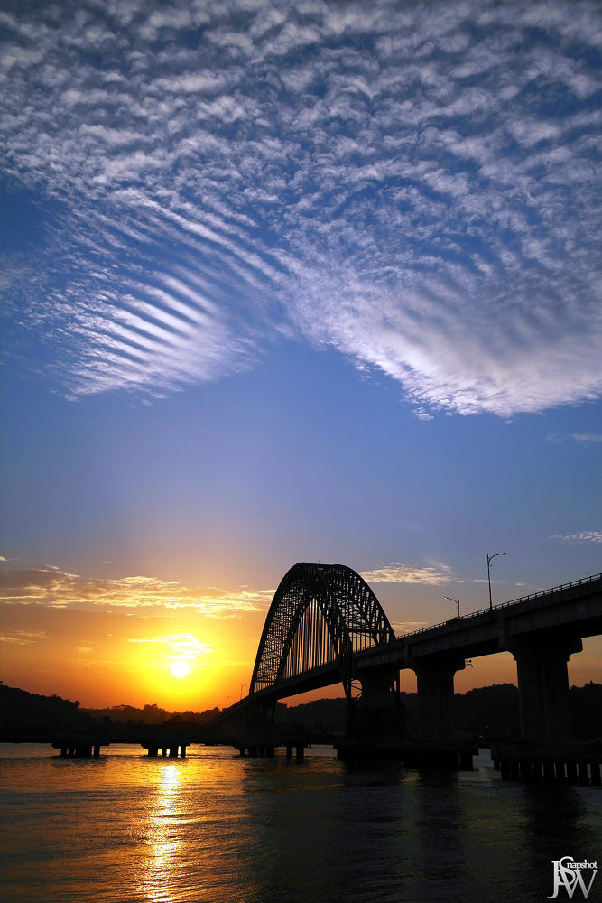 Photo in Landscape #sunset #brigde #river #cloud #sky