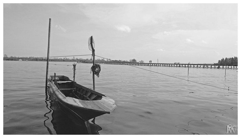 Photo in Black and White #landscape #boat #sea