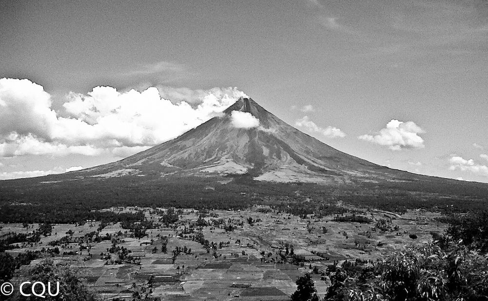 Mayon Volcano in monochrome by mench chu