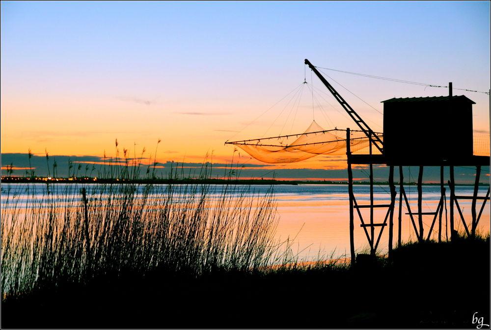 The fishing cabin at dawn by Bernard Guillon