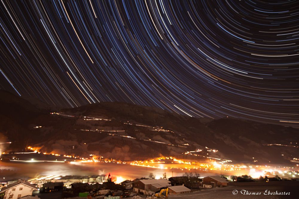 Startrails with a view to the mountains! by Thomas Eberharter