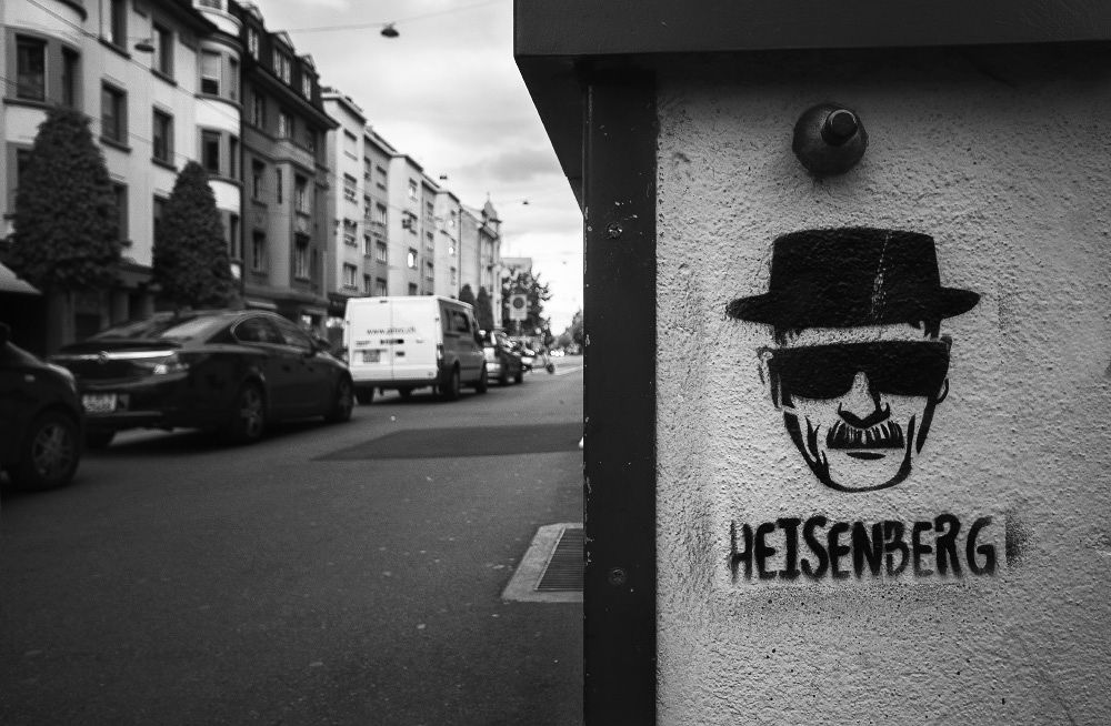 Photo in Street Photography #basel #black and white #face #breaking bad #graffiti #head #heisenberg #man #stencil #street #street art #wall #switzerland