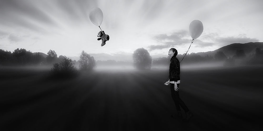 Photo in Fine Art #ypa2013 #dreamer #sleepwalking #balloon #man with balloon #black and white #man in leather #man in slim black trousers #teddy bear #landscape #haze #mist #fog #photomanipulation #fantasy #dreamy man #dreamy #dream