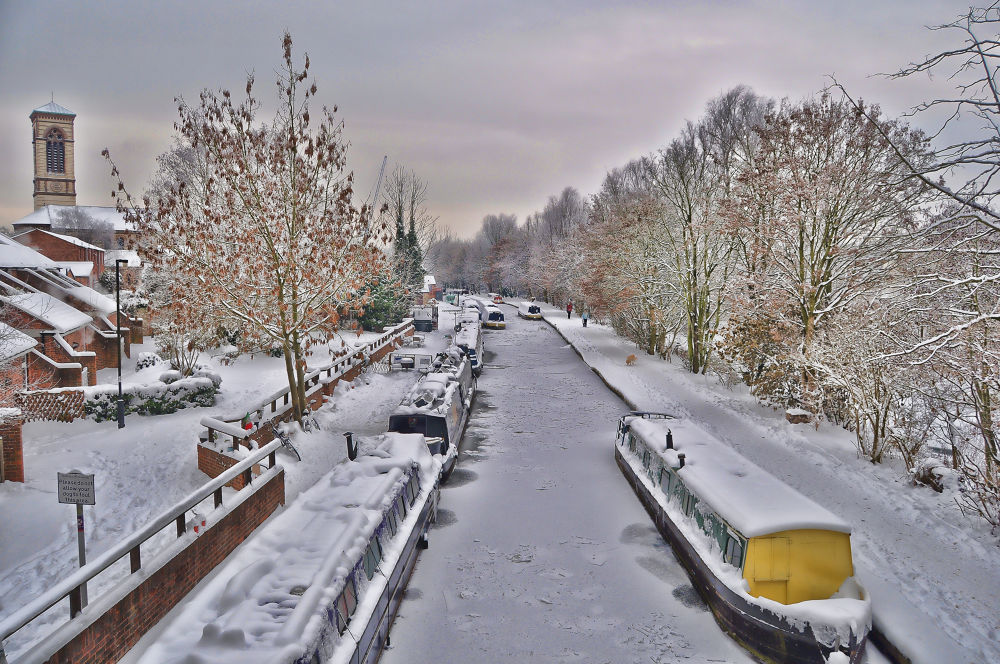 Photo in HDRI #hdr #oxford canal #canal #snow #ypa2013