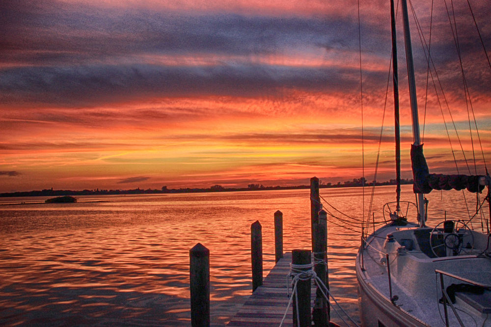 Photo in Sea and Sand #sunset #palm marina #englewood #florida #sailboat