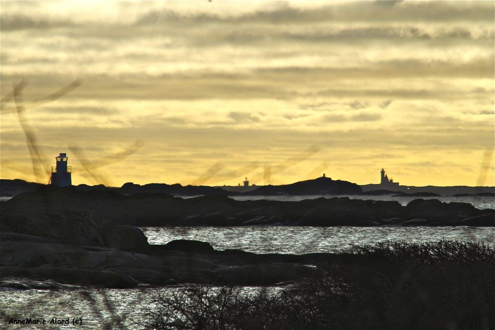 Two lighthouses, St.Pölsa and Vinga, as I see them from my garden by annemariealard