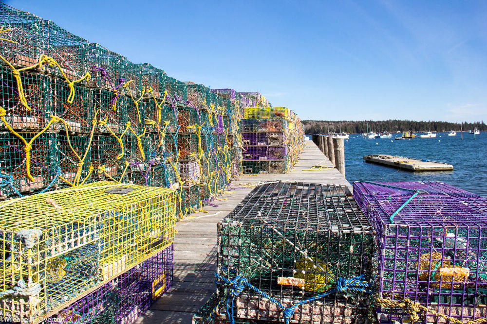 Owls Head Harbor lobster traps ready to go by Michael T. Overton