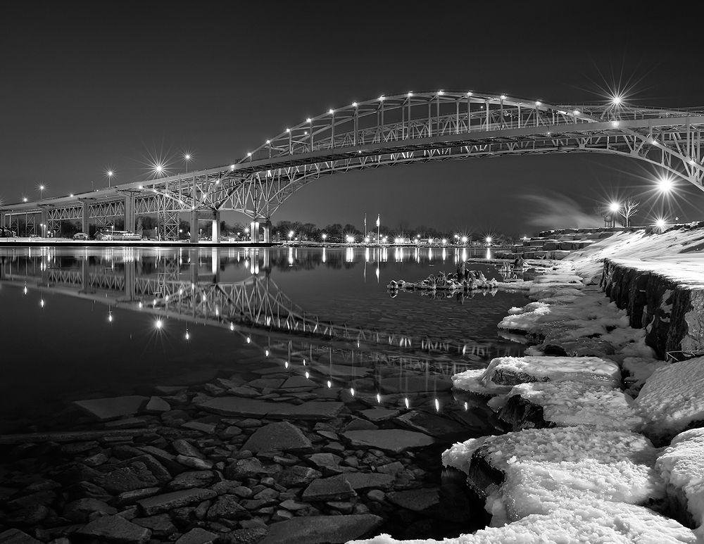 Bluewater Bridge Reflections in B&W by Daniel J Bellyk