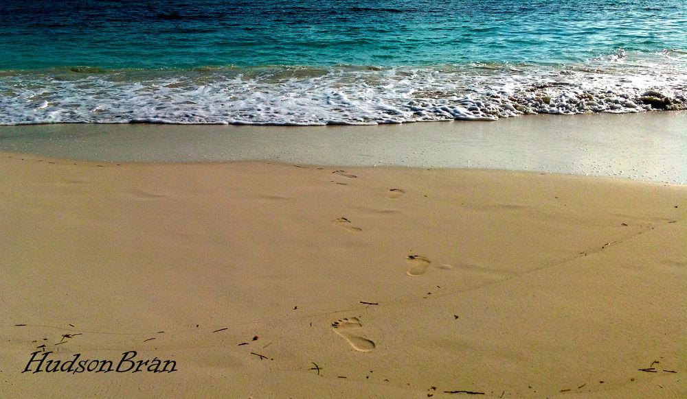 stepping in sand by Hudson Bran