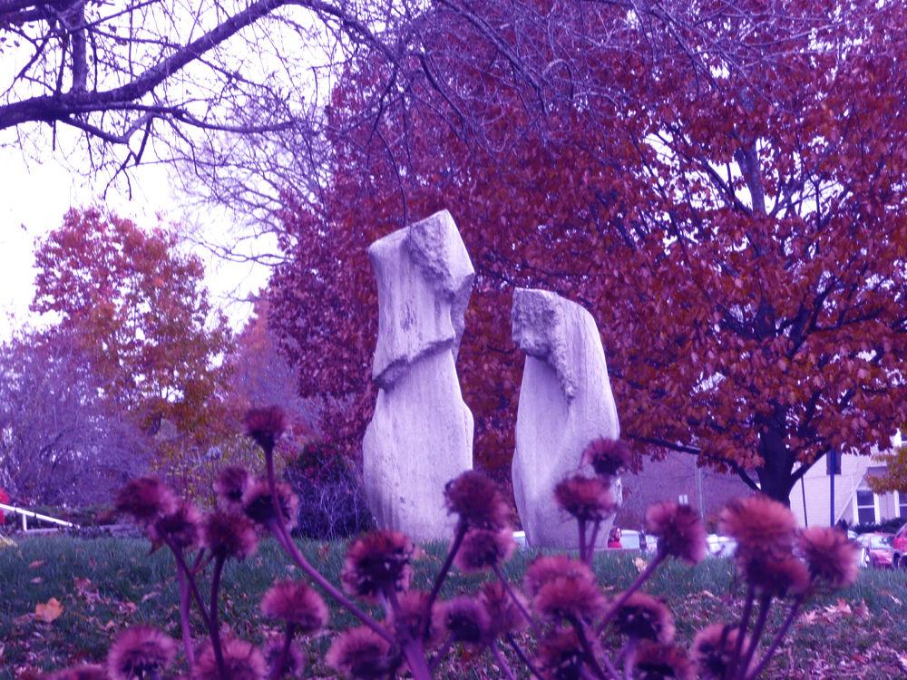 Sculpture in front of art gallery by Vivian Wilcox