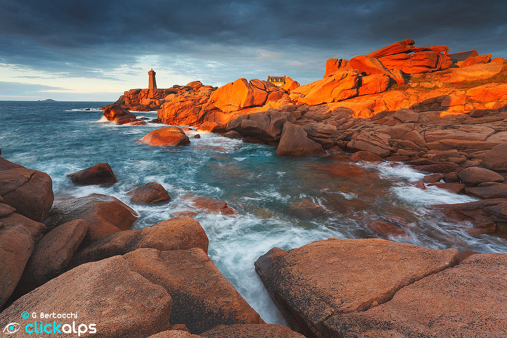 Ploumanac'h lighthouse at sunset by Giordano Bertocchi