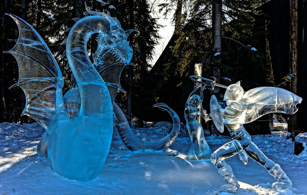Photo in Fine Art #alaska #2013 #ice championships #first place #ice carving #dragon #hero #knight