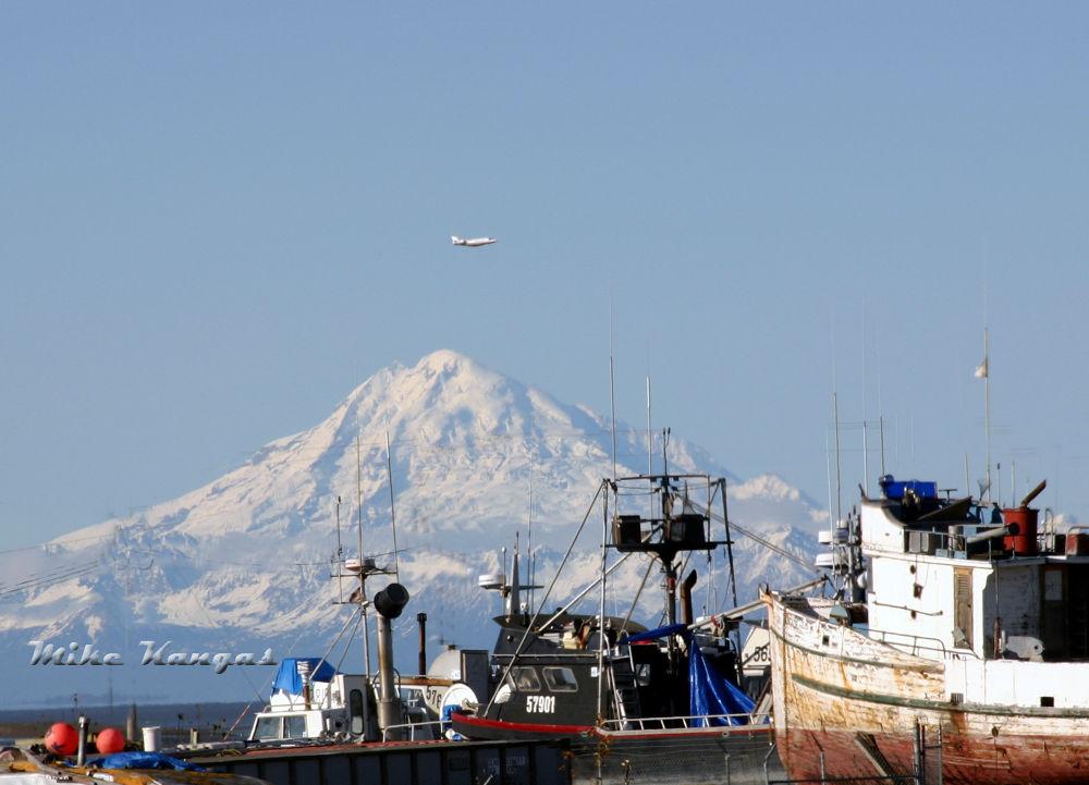 Mt. Spurr, Kenai Boat Harbor, Alaska by mikekangas