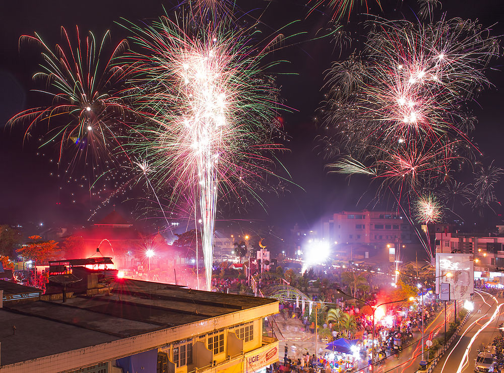 Photo in Urban #fireworks #new #year's #eve #kotabaru #south #kalimantan #borneo #indonesia #travel #januari #1st #2014 #long #exposure