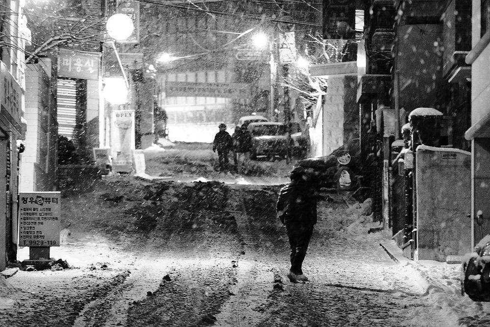 Snowy street by Liam