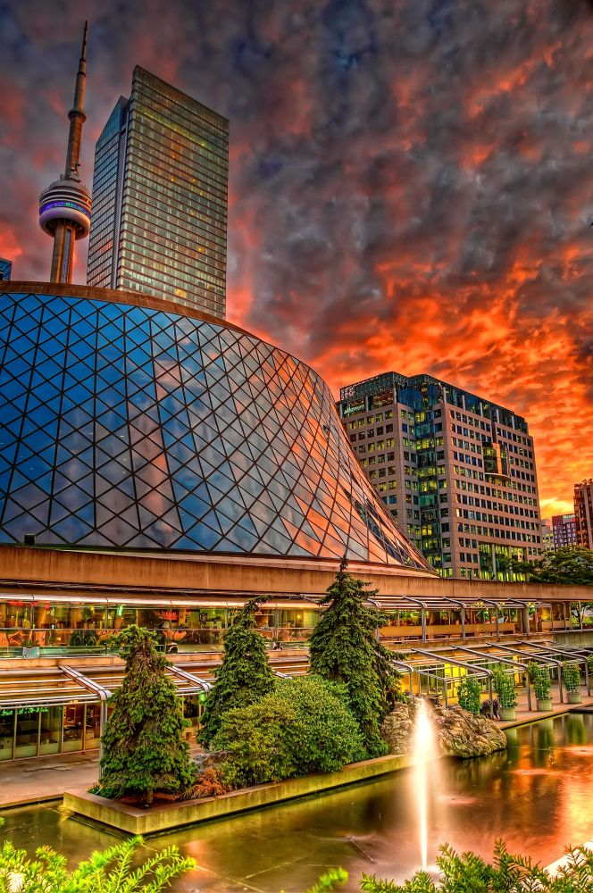 Photo in Random #tower #on #fire #clouds #sky #hdr #travel #sunset #evening #canada #low light #cn tower #toronto #ontario