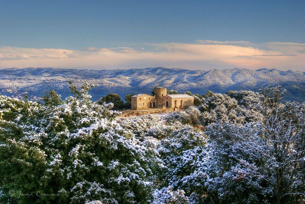 Photo in Random #santa barbara #chapel #blanes #gerona #catalonia #landscape #snowed #ypa2013