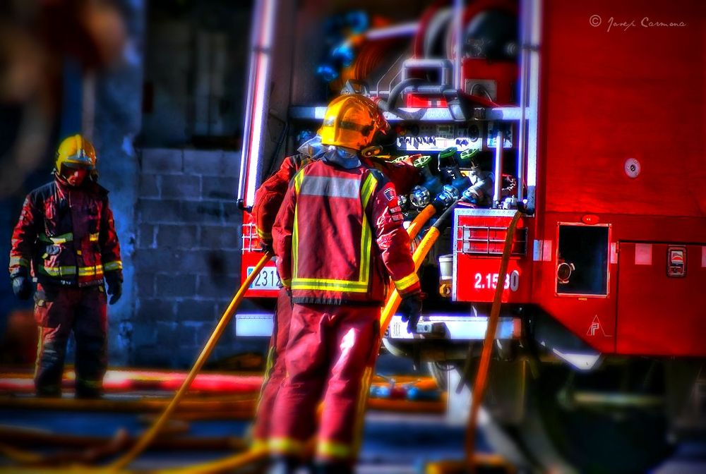 Photo in Industrial #firefighters #bomberos #fire #fire prevention