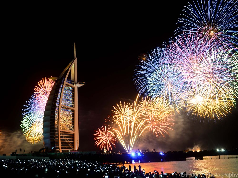 Burj-al-Arab, Dubai, UAE - new year fireworks by imranabhatti