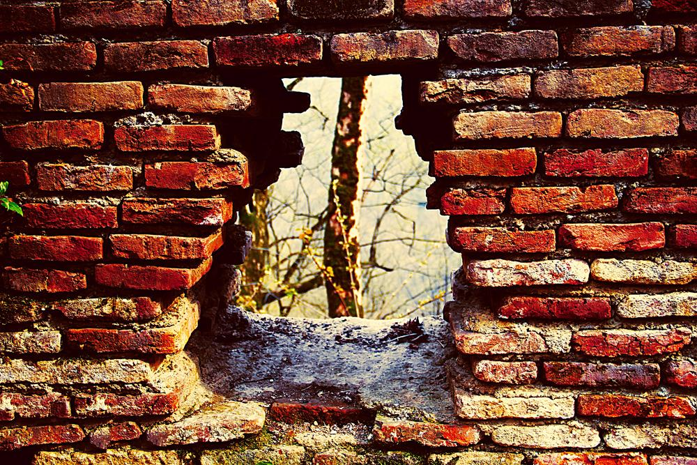 Photo in Abstract #wall #red #castle #hole