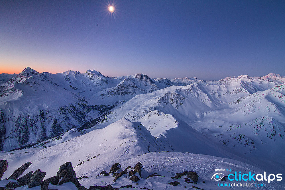 Full moon during the night in the central alps - (Giacomo Meneghello) by clickalps