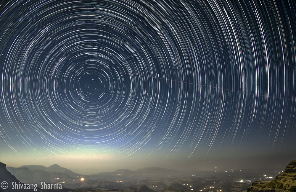Photo in Landscape #polaris #star #sky #landscape #time #exposure #star trails #india #light #mountains #hills #urban #city #rural