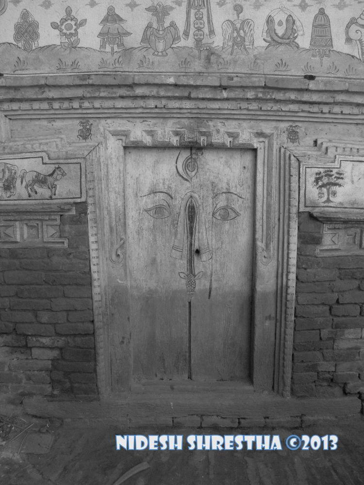 Old cultural door of nepal by NideshStha