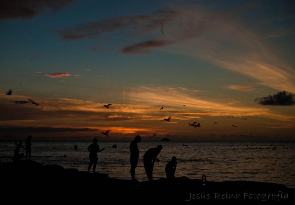Pescando al atardecer en Playa Zaragoza - Nueva Esparta, Venezuela. by jesrei