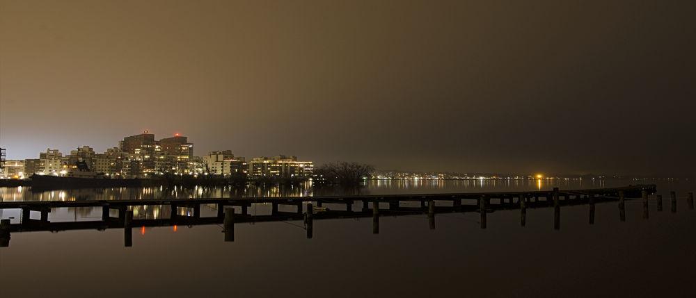 Photo in Cityscape #nikon #d7000 #tokina 11-16mm f/2.8 #sweden #västerås #sverige #photobyarntsen #alexander arntsen #for sale #night #nighttime #water #pier #cityscape #light