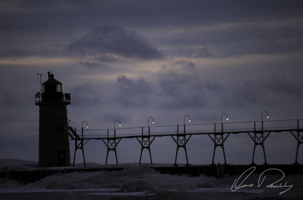 South Haven Light At Sunset by Issaac Rickenberg