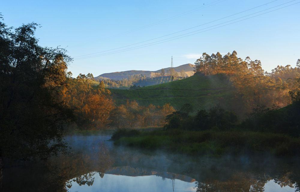 Photo in Landscape #water #land #breeze #trees #river #mist #cloud #green #sky #blue