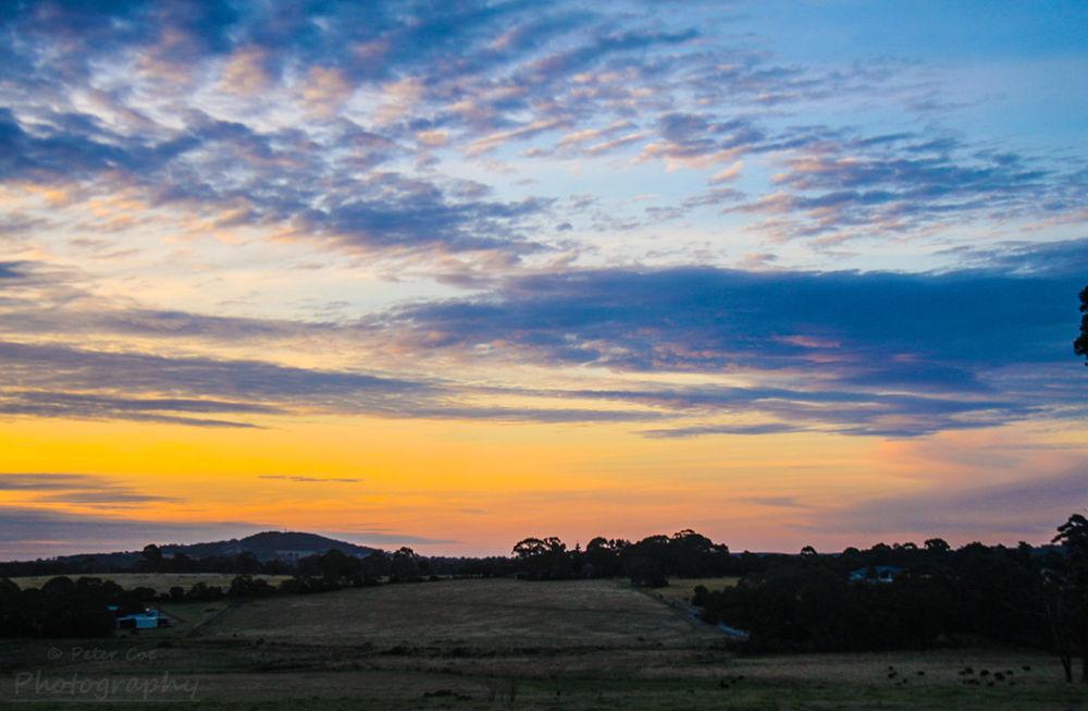 Dusk over farmland by petercoe5