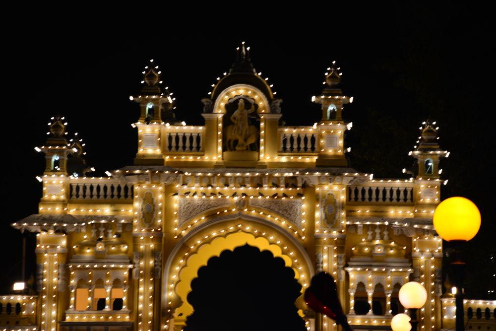 Glowing Mysore Palace Gate by RajeshwarPuvvada