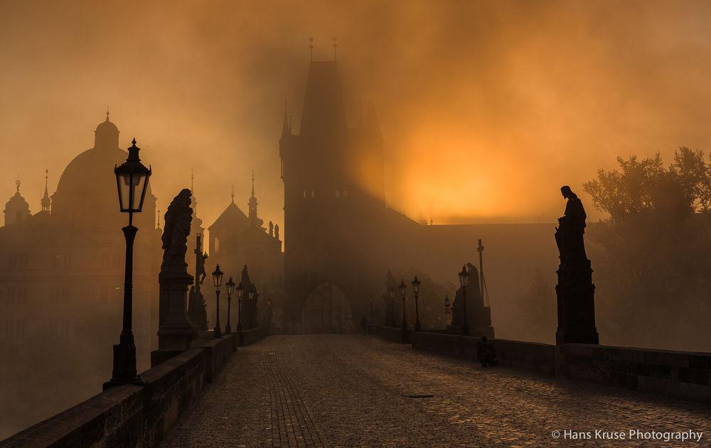 Karls Bridge in morning light by Hans Kruse