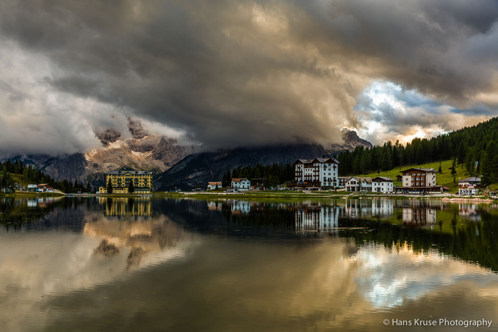 Lago Misurina with dramatic clouds by Hans Kruse
