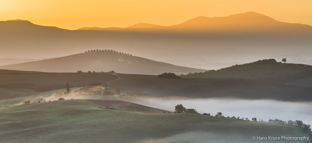 Tuscan morning at first sun rays by Hans Kruse