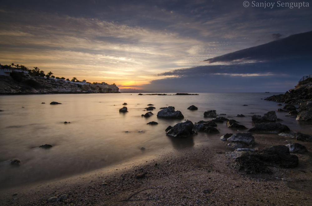 Photo in Sea and Sand #landscape #nature #beach #seascape #sea #blue hour #nikon #qurum beach #muscat #oman