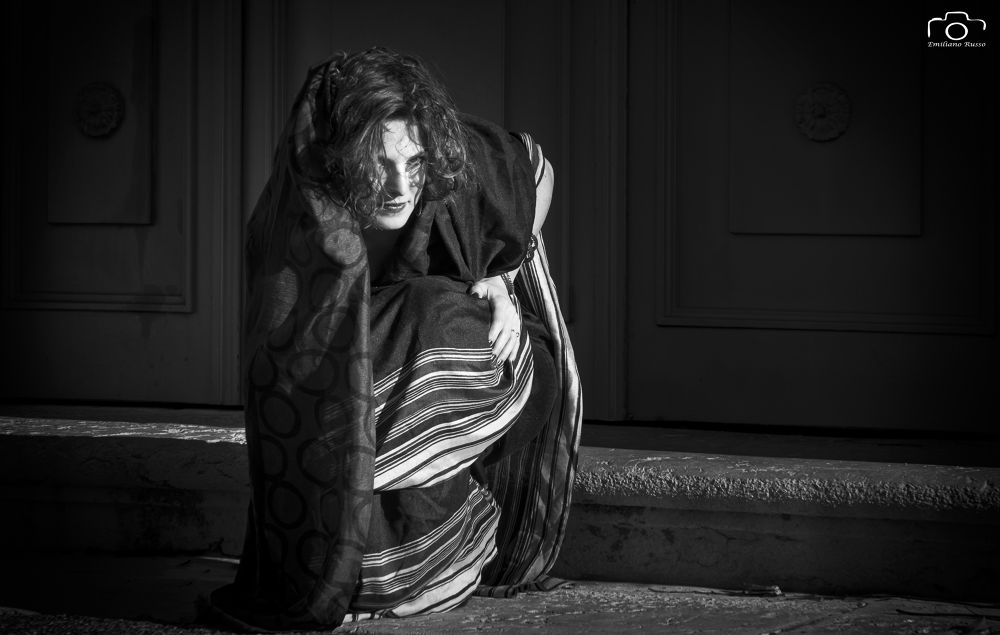 Photo in Black and White #woman #mistery #theatre #playng #role #dark #black #white #b&w #mood #feeling #freat #awesome #amazing #hunted #hunting #emiliano russo #emilianorusso #italian #indian #india #italy