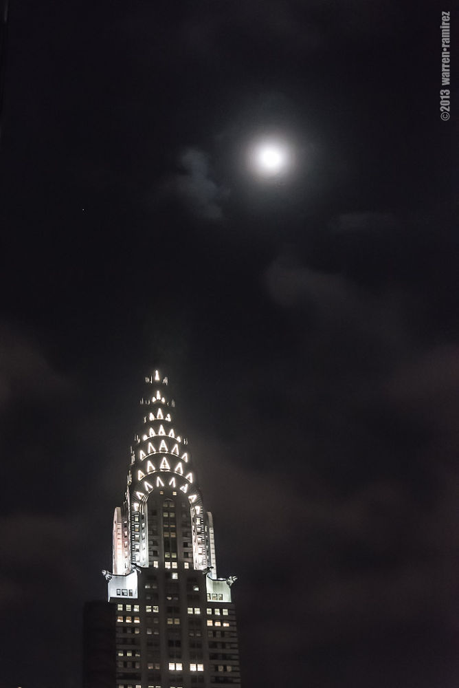 Moon over Chrysler... by Warren Ramirez