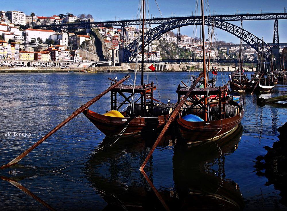 Rabelo  boats (old port wine transporters) PORTO by fernandoigrejas