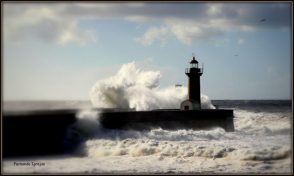 sea storm (Foz do Douro) by fernandoigrejas