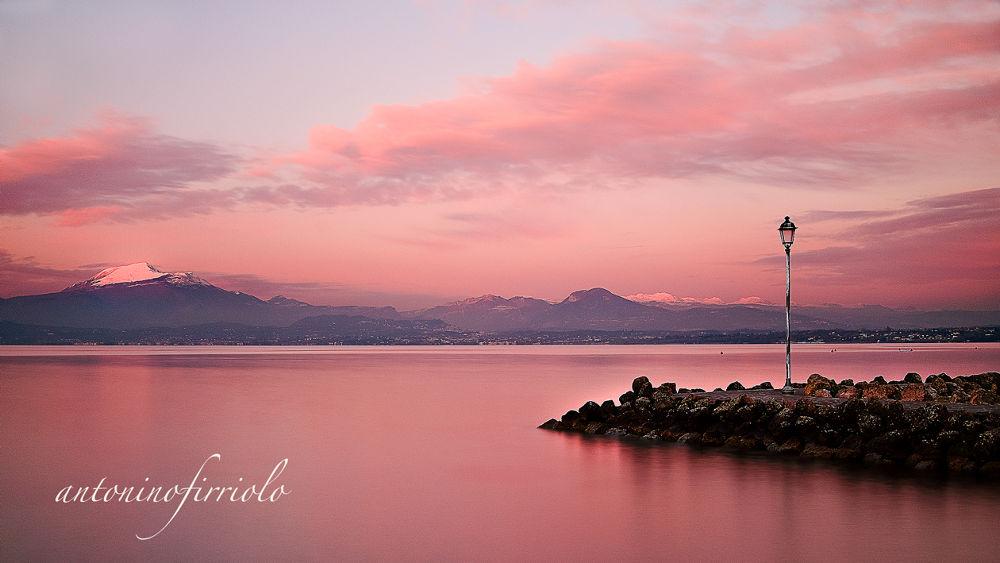Photo in Landscape #d600nikon #lagodigarda #tramonto #colori #acqua #lungaesposizione